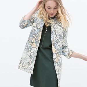 Zara Pixellated Flower Print Coat Size Small